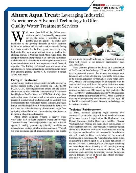 We just got featured in Silicon India as India's Most Promising Water Treatment Service Providers